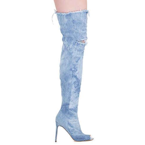 Onlymaker damenmode aus split aufgerissen peep - toe - denim - stiletto kniehohe stiefel Blau