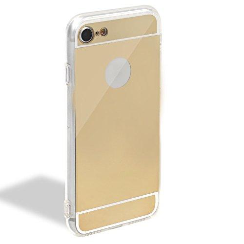 Für iPhone 7 Plus Hülle,Für iPhone 8 Plus Spiegel Hülle Mirror Case,Funyye Luxuriös TPU Handyhülle Rose Gold Plating Silikon Schutzhülle Luxus Glänzend Glitzer Kristall Strass Rahmen Weich TPU Handy T Spiegel,Gold