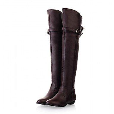 Rtry Femmes Chaussures Similicuir Hiver Printemps Les Bottes De Mode Bottes Chunky Talon Bout Rond Sur Le Genou Bottes Boucle Pour Les Mariages Bureau & Amp; Carrière Us6.5-7 / Eu37 / Uk4.5-5 / Cn37