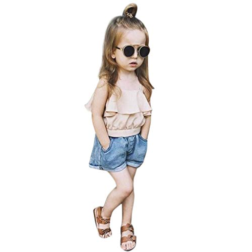 Mbby tuta bambina ragazza, 1-7 anni completino bambino ragazze 2 pezzi tute maglietta balze + pantaloncini di jeans set senza maniche leggera estate primavera