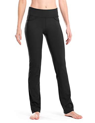 Safort Regular/Tall Straight-Leg Yoga Hose mit 71cm/76cm/81cm/86cm Schrittlänge, 4 Hosentaschen, undurchsichtig, schwarz, XXL