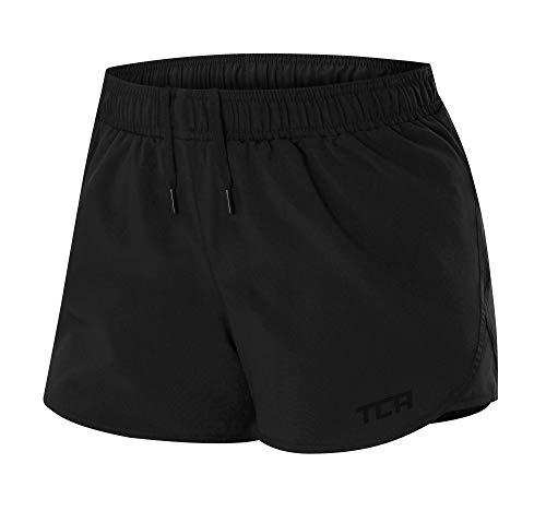 TCA Pulse Damen Laufshorts/Sporthose Kurz mit Reißverschlusstaschen - Schwarz, S