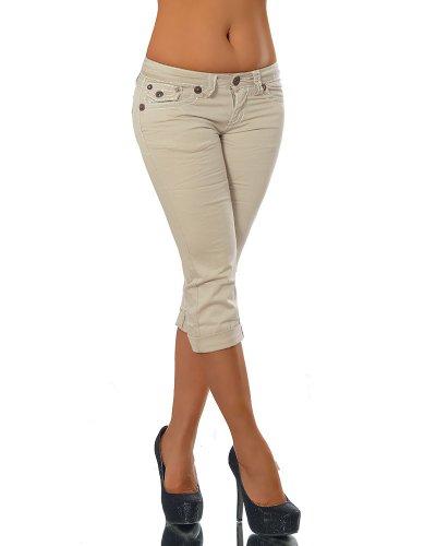 Beige Capri-hose (K900 Damen Capri Jeans Hose Damenjeans Caprihose Caprijeans Bermuda Dicke Naht, Farben:Beige;Größen:42 (XL))