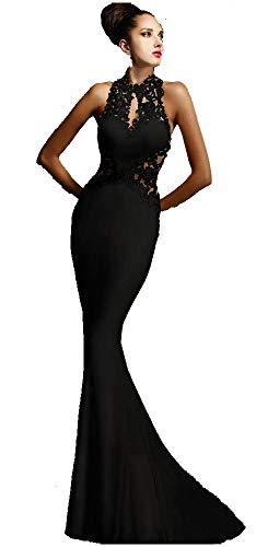Ovender® Damen Kleid Festliche Kleider Brautjungfer Hochzeit Cocktailkleid Faltenrock Elegant Langes Abendkleid Ball Party - M - Nero Impero Lange Formale Hochzeit Kleid