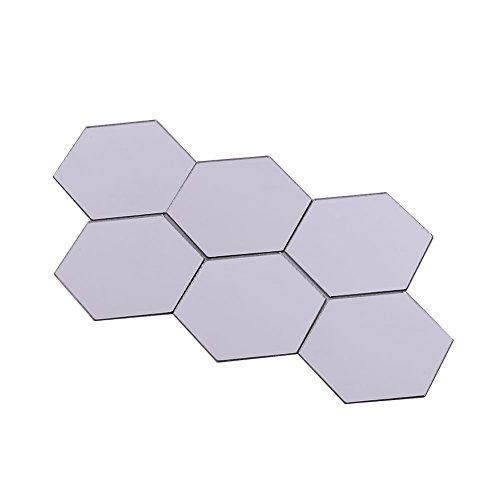 Kicode DIY 12st Geometry Hexagon Spiegel Wand-Aufkleber Wohnzimmer Schlafzimmer Haus Mirrored Dekor-Kunst-Removable Sicherheit Abziehbild (Spiegel Für Wand-dekor)