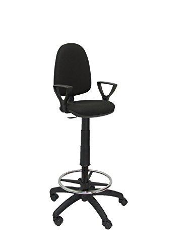 Piqueras y Crespo T04CP - Taburete ergonómico, regulable en altura y aro reposapiés, color negro
