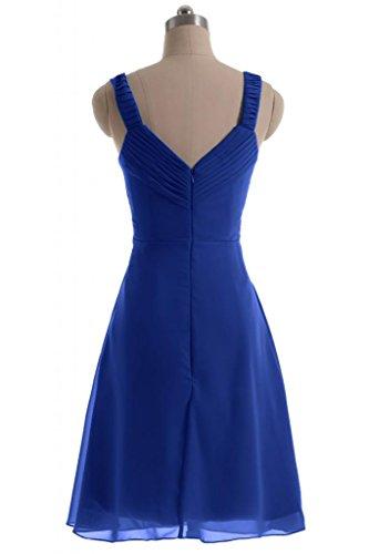 Sunvary semplice abito A-Line, in Chiffon Prom Dress-Costume da damigella d'onore per feste Blu