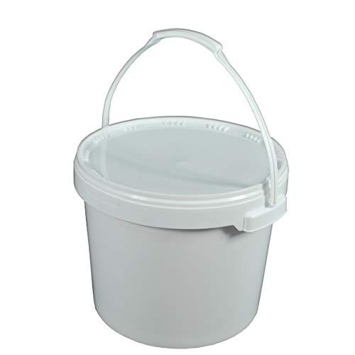 HELO 10 Stück 15 Liter Eimer mit Deckel und Originalitätsverschluss, Henkel aus Kunststoff, Kunststoffeimer aus Polypropylen, lebensmittelecht, flüssigkeitsdicht und stapelbar, Farbe: weiß