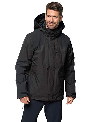 Jack Wolfskin Herren Thorvald 3-in-1-Jacke für Trekkingtouren Wasserdicht Winddicht Atmungsaktiv 3in1-jacke, schwarz, M