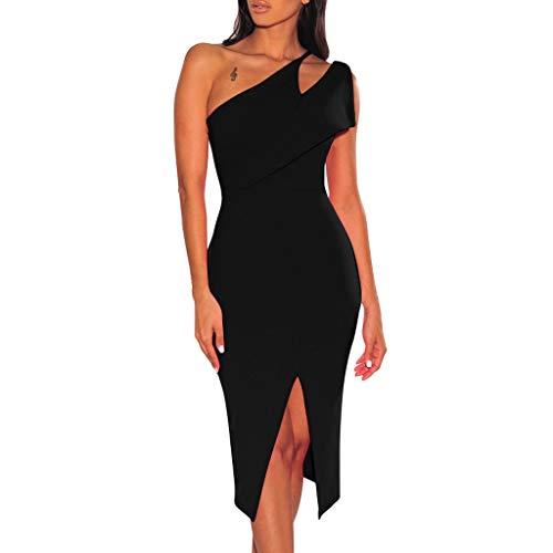Damen One Shoulder Split Kleid Kleid Sexy Slim Trägerlos Einfarbig Kleid Mode Ärmellos Durchbrochene Cocktail Party Kleid Sonojie