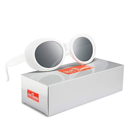 Rocf Rossini Vintage Gafas de sol ovaladas Mujeres Hombres Kurt Cobain Retro Tonos Protección UV400 Blanco Color del caramelo Marco completo (Blanco/Gris)