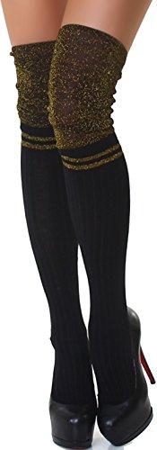SANSelle Damen Halterlose Kniestrümpfe lange Socken Wadenstrümpfe Overknee Gold Glitzer Glanz Streifen, Einheitsgröße 34 36 38 40