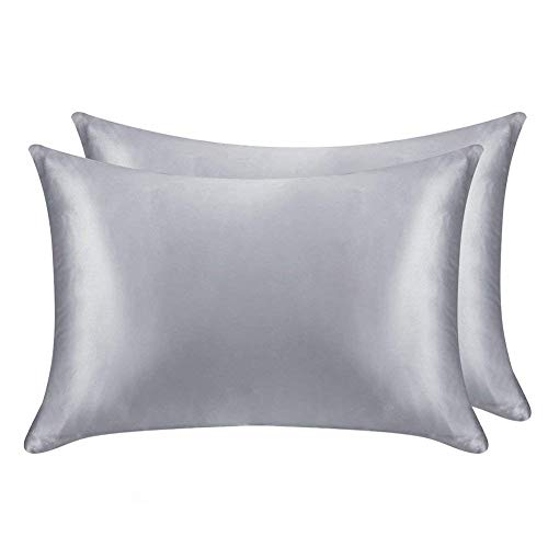 Juwenin Bettwäsche, super weich und luxuriös, seidiger Satin-Kissenbezug mit Reißverschluss (seidiger Satinkissenbezug für Haare), 2er-Set Standard(20''x26'') Silber - Premium Pack Bettwäsche-set