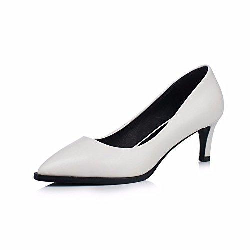 Hxvu56546 Haute Talons Chaussures Nouvelle Automne Bouche Poignée Shallow Deep Work Chaussures Mince Chaussures Femme Blanc