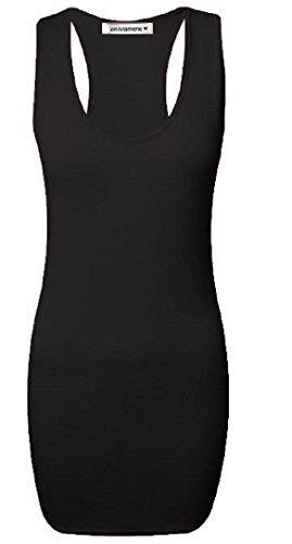 Janisramone Damen Unterhemd, Einfarbig Gr. S/M (34-36), schwarz (Top Back Scoop Neck)