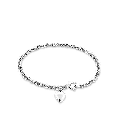 amor Damen-Armband 19cm mit Herz-Anhänger 925 Silber rhodiniert