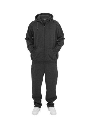 Grau Sweatsuit (Urban Classics Jogginganzug Suit Sweatsuit Trainingsanzug blanko Blank schwarz grau dunkelgrau charcoal S bis 5XL Farben Männer Herren Sportanzug Fitness Tanzanzug Dance (L, dunkelgrau charcoal))