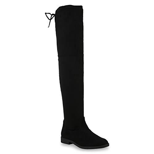 Damen Overknees Leder-Optik High Stiefel Boots Basic Look 172609 Schwarz Basic 37 ()