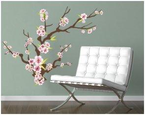 Nr, 547Fleur de cerisier branche–Sticker décoratif pour mur, taille: 75x 60cm, mural, sticker, autocollant mural de cerisier