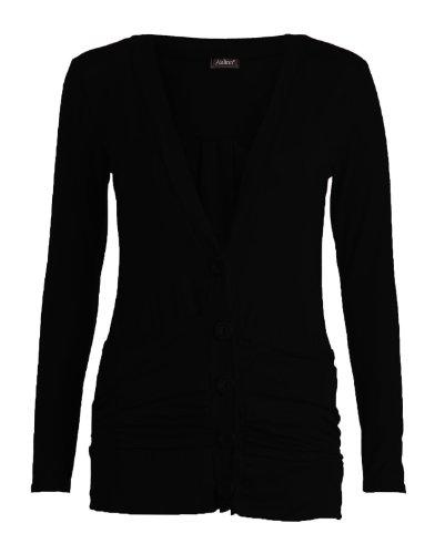 Funky Boutique Haut à manches longues avec boutons Boyfriend tricot pour femme Noir - Noir