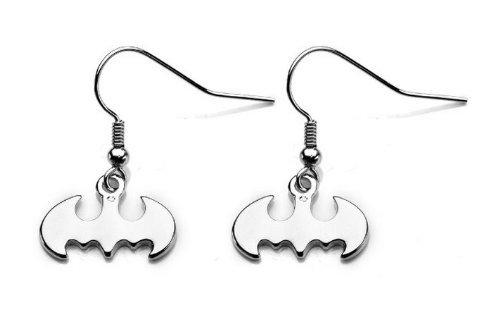dc-comics-stainless-steel-batman-dangle-hook-earrings-silver-tone-by-animewild