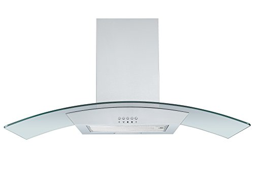 31HsEj12QDL - Cookology CGL900SS 90cm Curved Glass Chimney Cooker Hood in Stainless Steel | Wall Mounted Extractor Fan