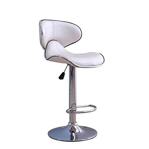 RFJJ Moderne Einfache Kreative Drehen Hebestuhl Designer High Leg Leder Sitz Cafe Zähler Restaurant Sessel (Color : White) -