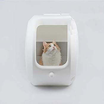 ZCY Semi-Automatique Bac À Litiére pour Chat, Fabriqué PVC De Rond Chat Maison De Toilette, Grand Prévention des Éclaboussures Chat Toilette (Taille : Half Curtain)