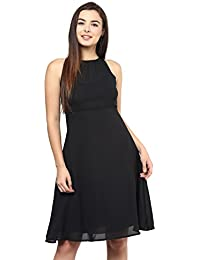 SWAGG Women's A Line Black Dress