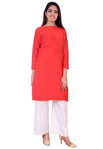 Fitze cotton Red women Plain casual kurti