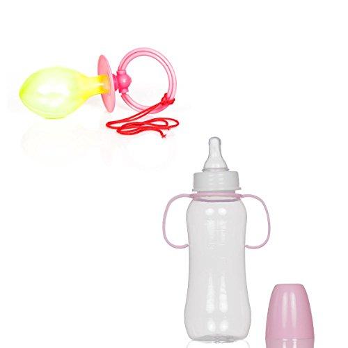 Baby Flasche Kostüm - Kostümplanet® Baby Kostüm Damen Zubehörset Schnuller und Flasche rosa