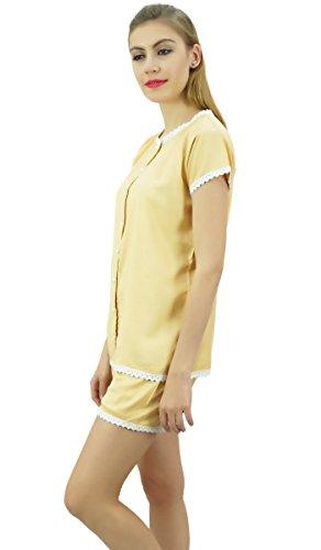 Bimba Donna Bottone giù Pizzo Pj Set Rayon Notte Bicchierini Della Camicia Insieme Del Vestito Beige