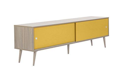 Rétro 1800 Meuble TV AV Support - Design anglais - Porte coulissante - Gestion des câbles - Chêne Yellow Doors