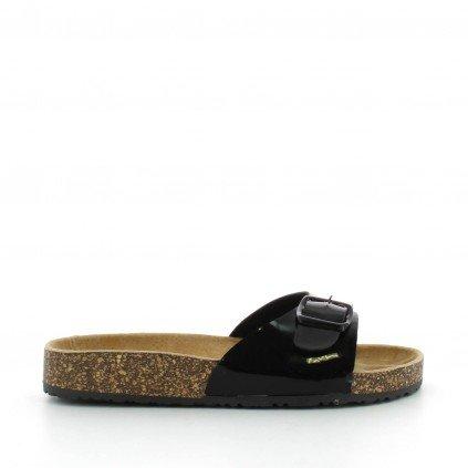 Ideal Shoes - Nu-pieds vernis style orthopédique avec ceinturon et semelle en gomme Amalia Doree