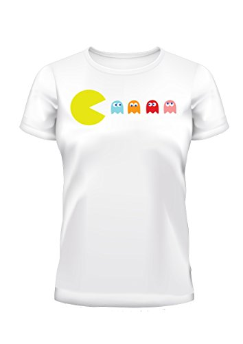 Unisex Pac Man with Ghosts White Tee - S to XXL