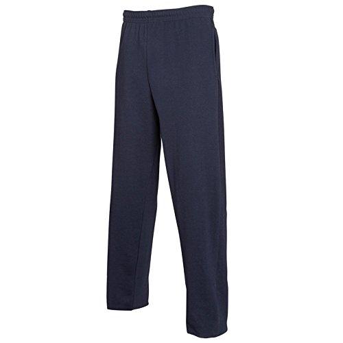 Pantalone tuta da ginnastica cotone fruit of the loom pantaloni leggeri uomo con fondo largo non felpati, colore: blu navy, taglia: m
