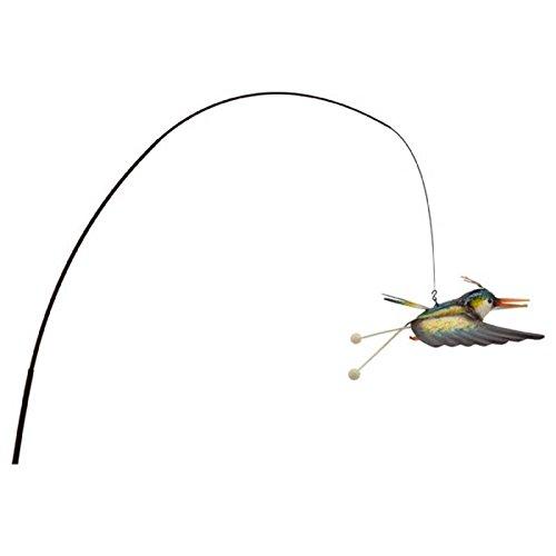L'Héritier Du Temps Oiseau Volatile Suspendu Pic de Jardin Style Canne à Pêche Mobile Déco Extérieur 33x90x200cm