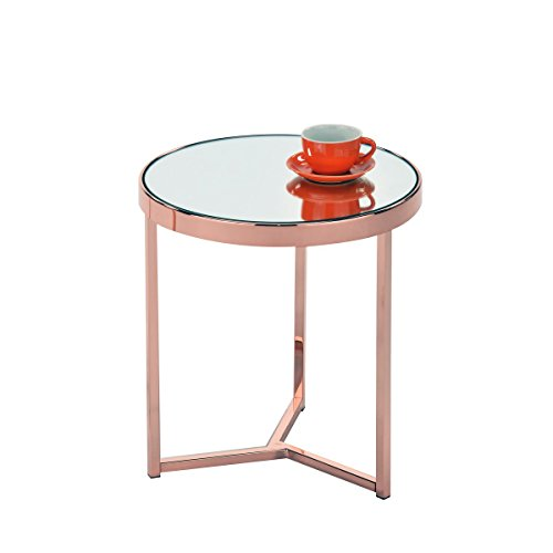 Tavolino in vetro con oro semplice sguardo