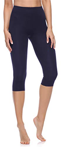 Lange Länge Leggings (Merry Style Damen 3/4 Leggings MS10-199(Marineblau, 42 (Herstellergröße: XL)))