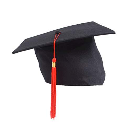 ierung Quaste Kappe einstellbare Studenten Doktor Kappe für Abschlussfeier Erwachsene Kinder (rote Quaste) ()