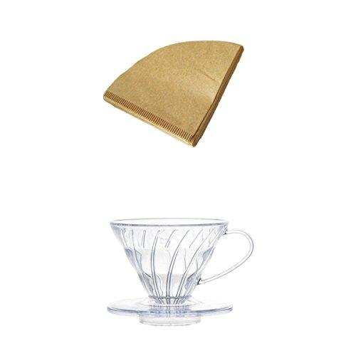 PETSOLA 4 Tassen Kaffeefilterbehälter + 40pcs Kaffeefilter Filterpapier Set