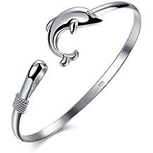 Abeillo Moda Elefante Plata solida Delfín Corchete brazalete Joyería Pulsera Para dama