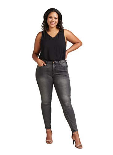 Zizzi Amy Damen Jeans Super Slim Jeanshose Stretch Hose ,Grau (Dark Grey 1015),48 (Herstellergröße: 48/ 78 cm)