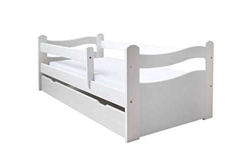 Kinderbett Jugendbett 140x70 oder 160x80 Massivholz Matratze Schublade Lattenrost (160x80, Weiß)