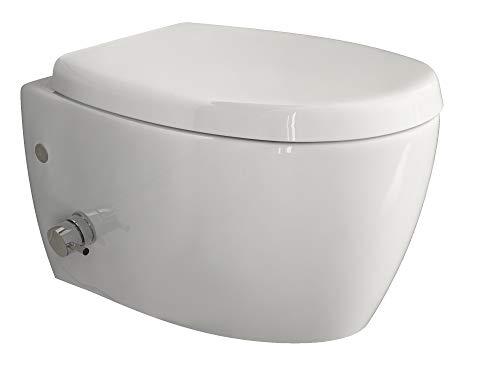 Aqua Bagno | Taharet WC | Inkl. Softclose Sitz und Ventil | Dusch-WC | Hänge-WC | Toilette mit Bidet-Funktion | Tiefspülklosett | Keramik | Spülrandlos | 510 x 363 mm