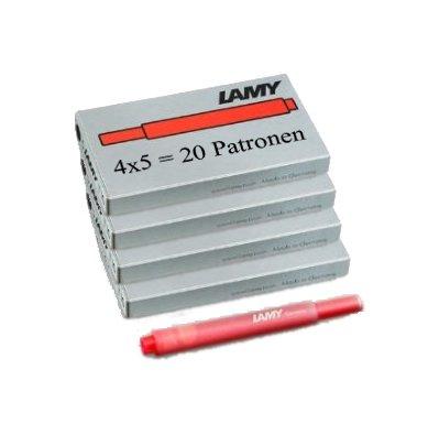 Lamy T10 20 Tintenpatronen 4 Päckchen mit 5 Tintenpatronen, 8 Farben zur Auswahl (insgesamt 20 Tintenpatronen) (rot)