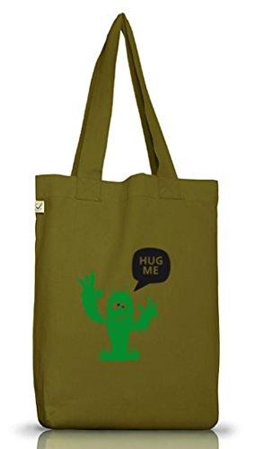 Shirtstreet24, Hug Me Kaktus, Jutebeutel Stoff Tasche Earth Positive (ONE SIZE) Leaf Green