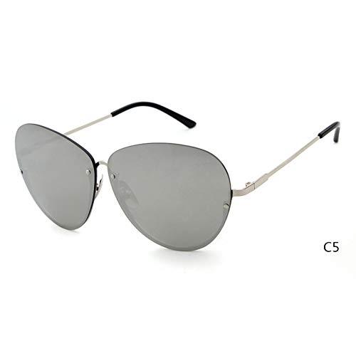 ZRTYJ Sonnenbrille Übergroße Pilot Sonnenbrille Half Metal Frame Männer Frauen Retro Vintage optische klare Linse Farbton Sonnenbrille Shades