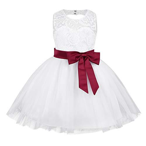 Tiaobug Baby Mädchen Kleid weiß Taufkleid Festliche Hochzeit Blumenmädchenkleider Geburtstag Partykleid Festzug Burgundy B 80-86(Herstellergröße: 75) (1. Kommunion Für Kleid Weißes Die)