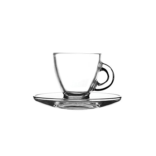 Ravenhead 8 cl Entertain Espresso Cup and Saucers, Set of 2, Transparent